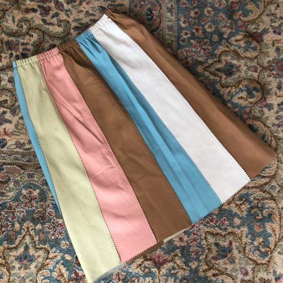 Vintage Dresses & Skirts - Vintage Cynthia Rowley Leather Skirt Size 10